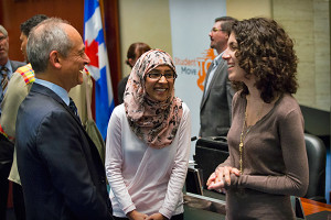 University of Toronto President Meric Gertler speaks at StudentMoveTO launch, Toronto City Council Chambers (Photo: Johnny Guatto)